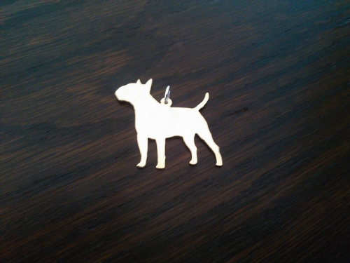 English Bull terrier Charm solid sterling silver Handmade in the Uk